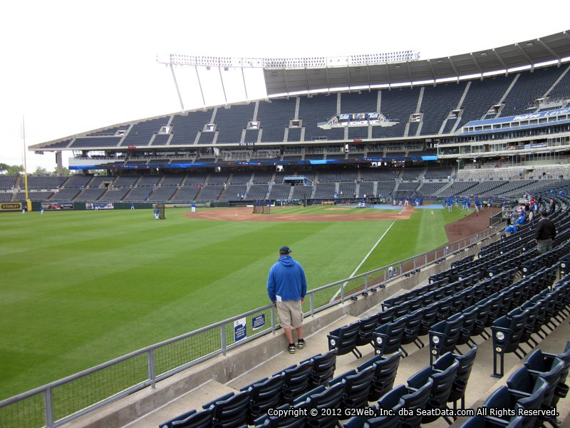 Seat view from section 108 at Kauffman Stadium, home of the Kansas City Royals
