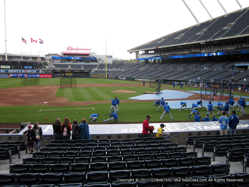 Seat view from section 120 at Kauffman Stadium, home of the Kansas City Royals