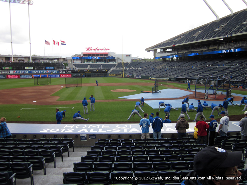 Seat view from section 121 at Kauffman Stadium, home of the Kansas City Royals