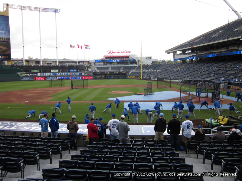 Seat view from section 122 at Kauffman Stadium, home of the Kansas City Royals