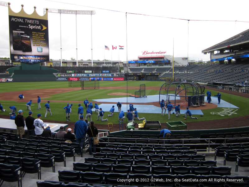 Seat view from section 124 at Kauffman Stadium, home of the Kansas City Royals