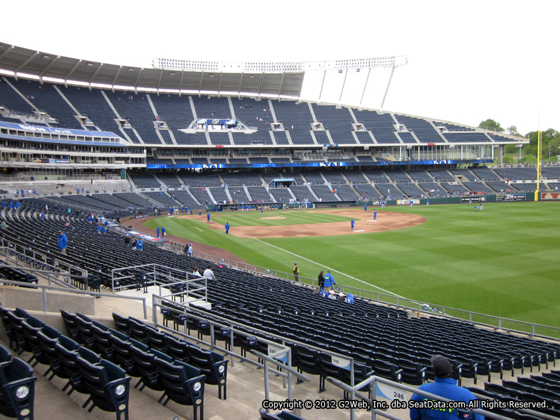 Seat view from section 246 at Kauffman Stadium, home of the Kansas City Royals