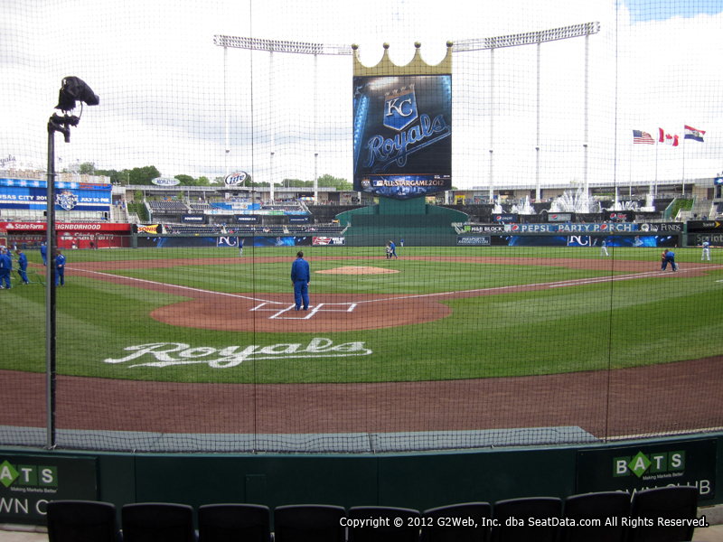 View from Crown Club Section 4 at Kauffman Stadium, home of the Kansas City Royals