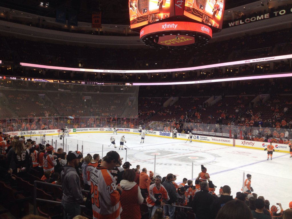 Photo of the ice at the Wells Fargo Center, home of the Philadelphia Flyers.